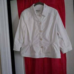 Coldwater Creek white denim jacket size 14 Excelle